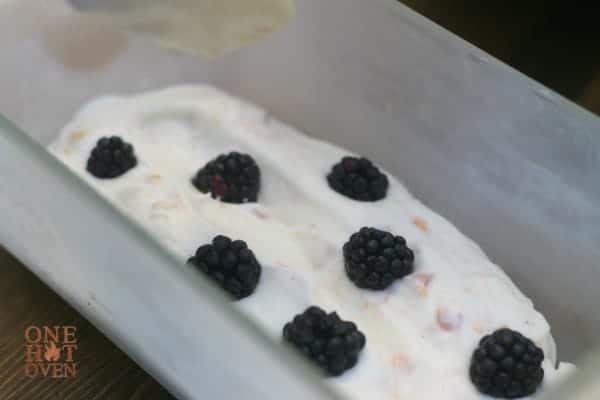 Peach ice cream with blackberries