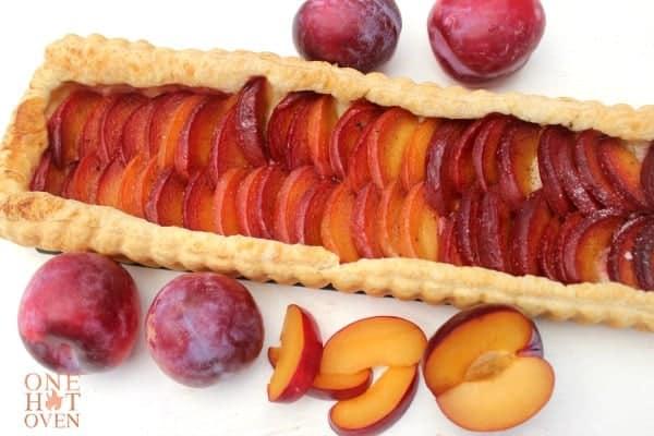 Baked plum tart