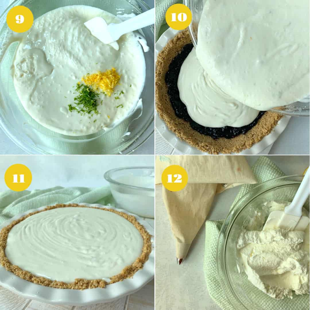 Adding citrus zest to pie batter and pouring the batter.