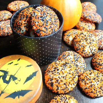Halloween Sugar Cookies with black and orange sprinkles