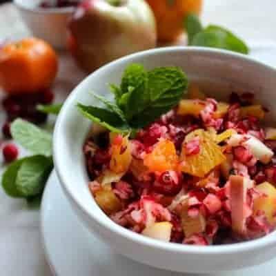 Cranberry Winter Fruit Salad with Honey Orange Dressing