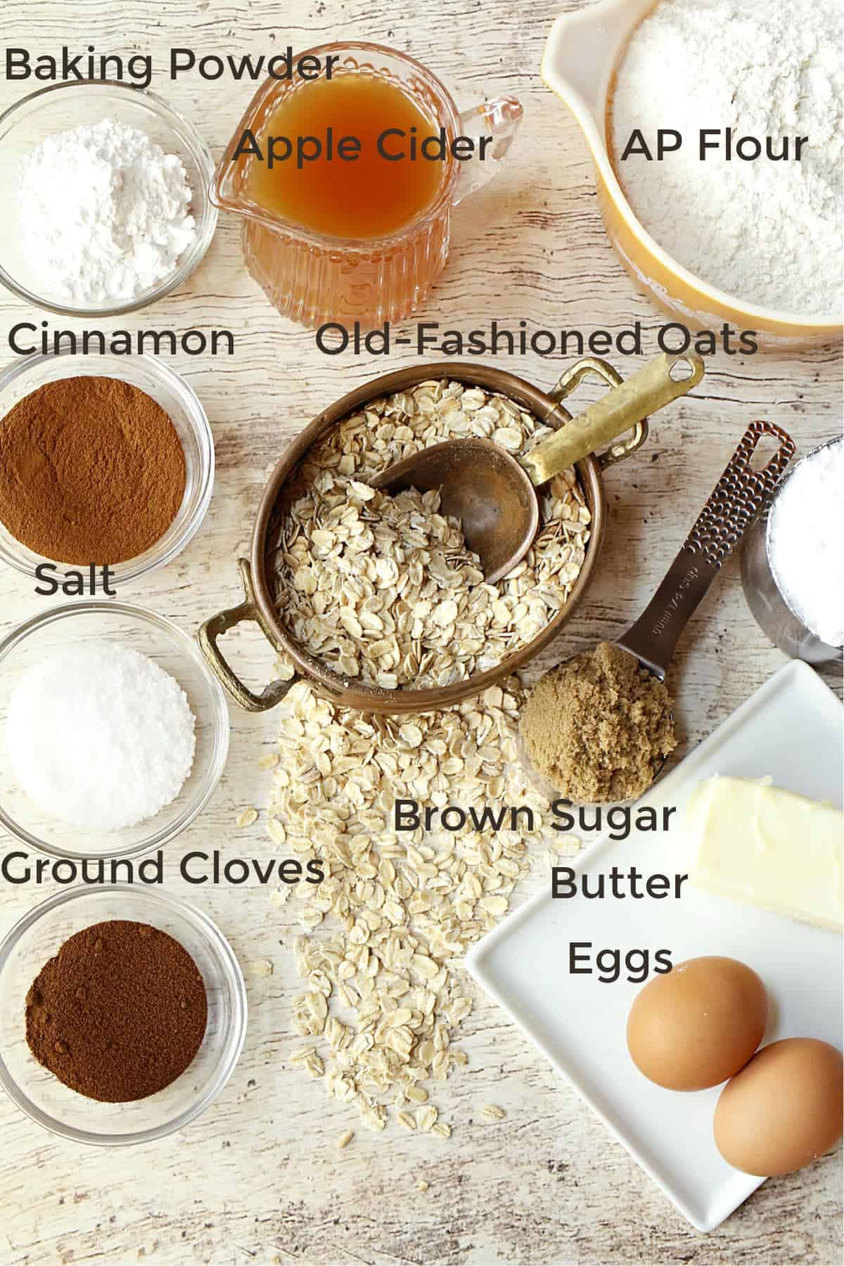 flour,butter, eggs,oats,cider, and spices for bread
