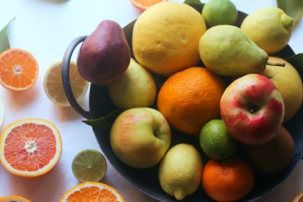Apples, pears, grapefruits, limes, and lemons
