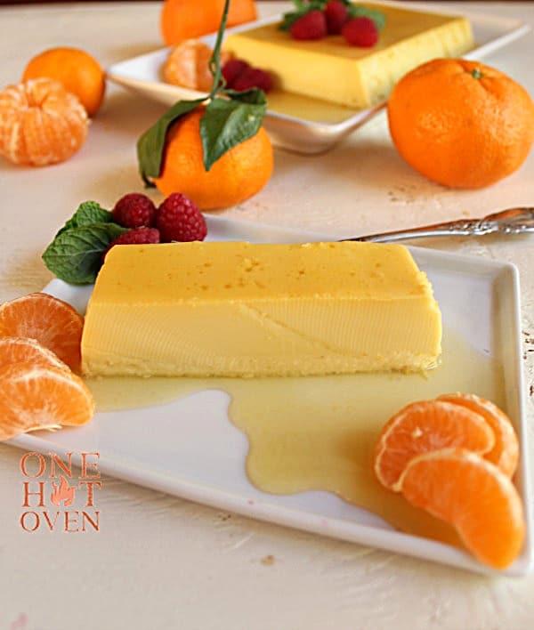 Caramel Creme dessert with mandarins