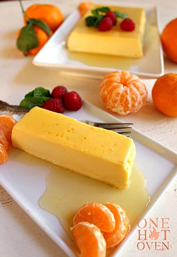 A slice of orange caramel creme custard