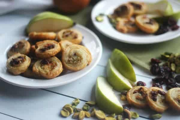 Pears, Pistachios and Cranberry Puff Pastry Pinwheels