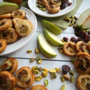 Baked pear pistachio and cranberry pinwheels