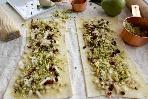 Puff pastry with pears, asiago, pistachios and cranberries