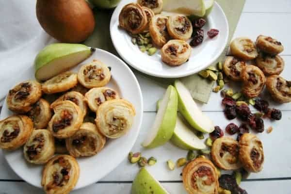 Pears in Puff Pastry with Asiago, Pistachios and Cranberries
