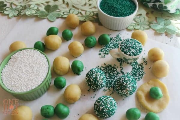 Forming the Mint Surprise Inside Cookies with sprinkles