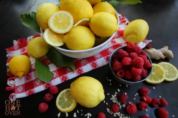 Lemons, raspberries and candied ginger