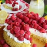 Lemon Ginger Sponge Cake with Raspberries