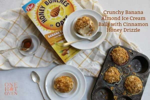 Crunchy Ice Cream Balls with Honey Bunches of Oats Banana Clusters cereal