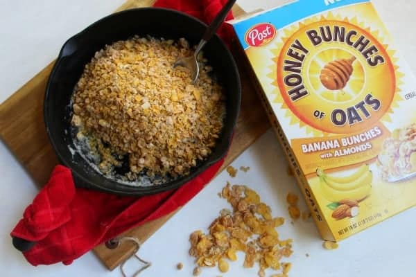 Honey Bunches of Oats in skillet toasting