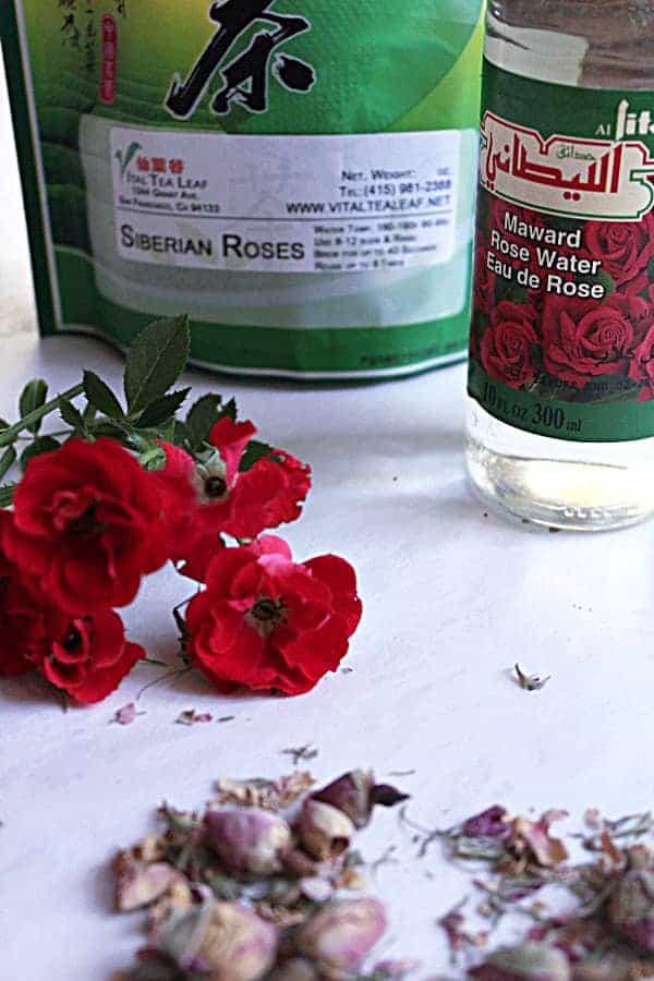 rose petals and rose water