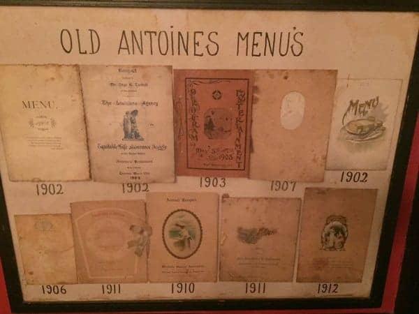 Antoine's menus