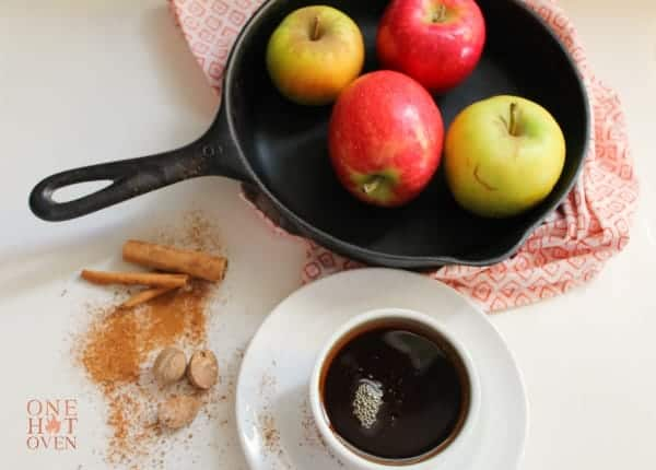 apples in an iron skillet