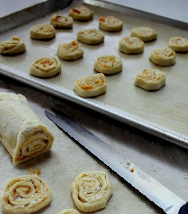 rolled and cut Parmesan pinwheels