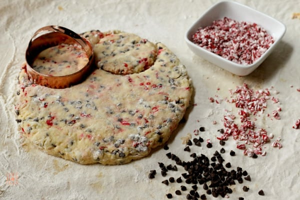 Chocolate Chip Peppermint Scone dough