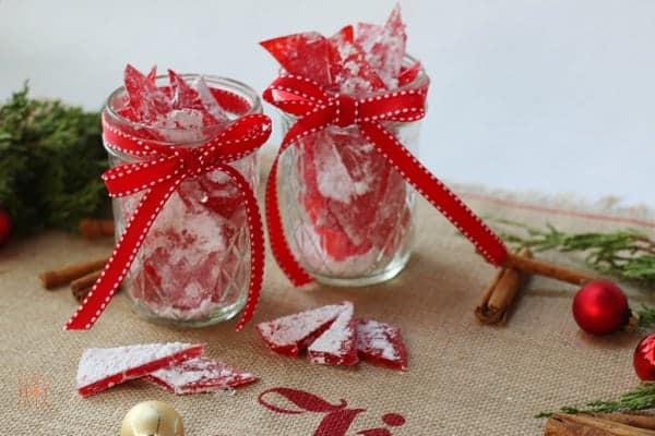 Cinnamon rock candy in mason jars ready for gift giving