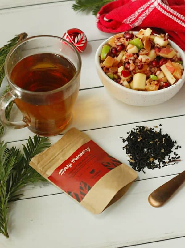 A winter fruit salad with a cup of Merry Cranberry Tea