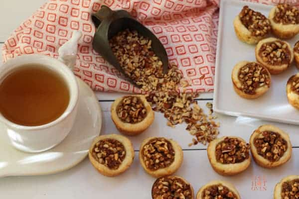 Baked Pecans Tassies with a cup of tea