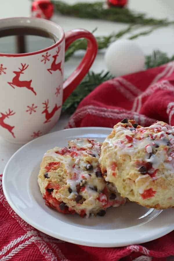 Fresh baked peppermint scones and tea