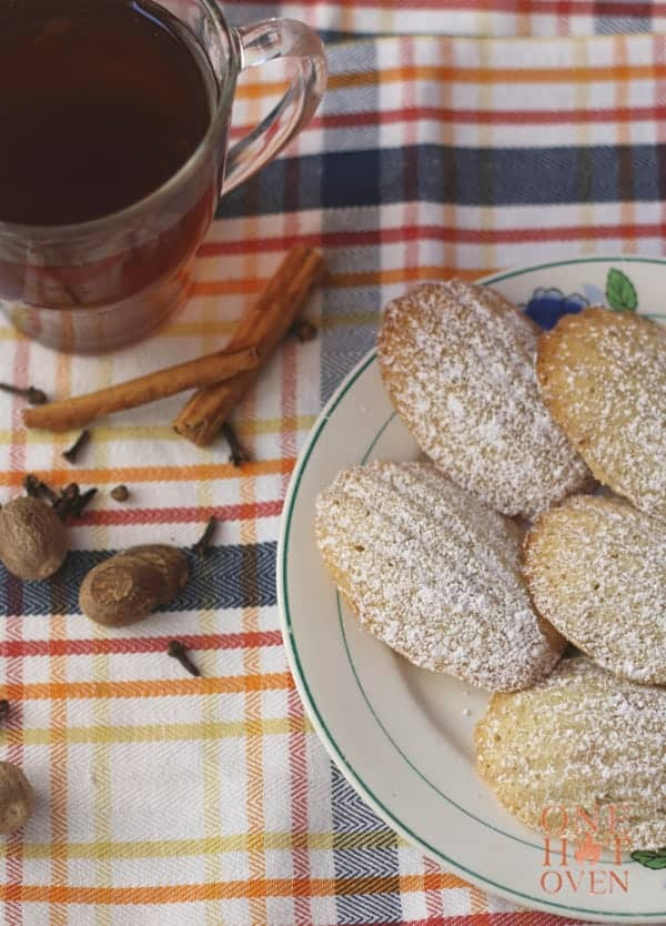 Spiced Madeleines with tea