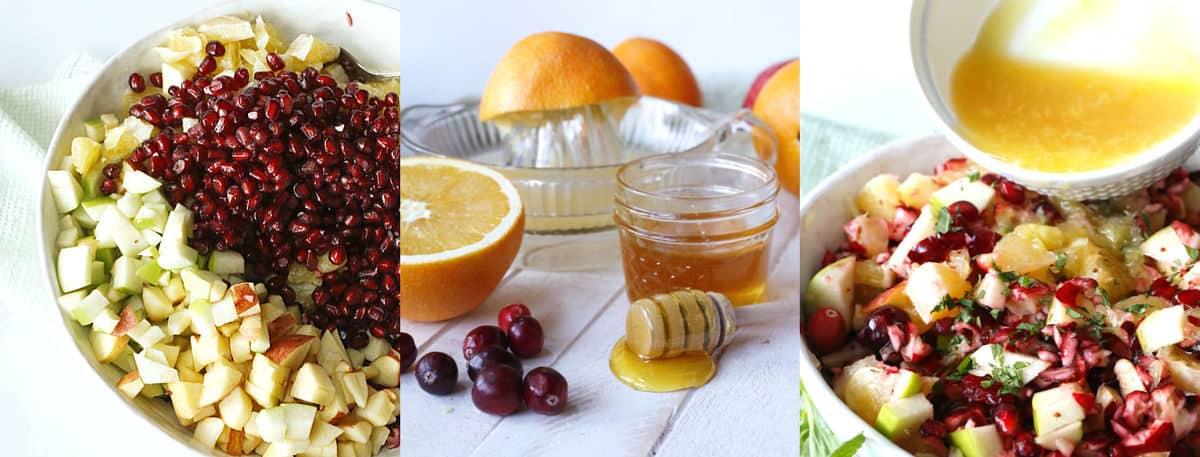 chopped fruit and a honey orange dressing