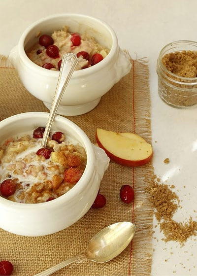 Bowls of creamy oatmeal