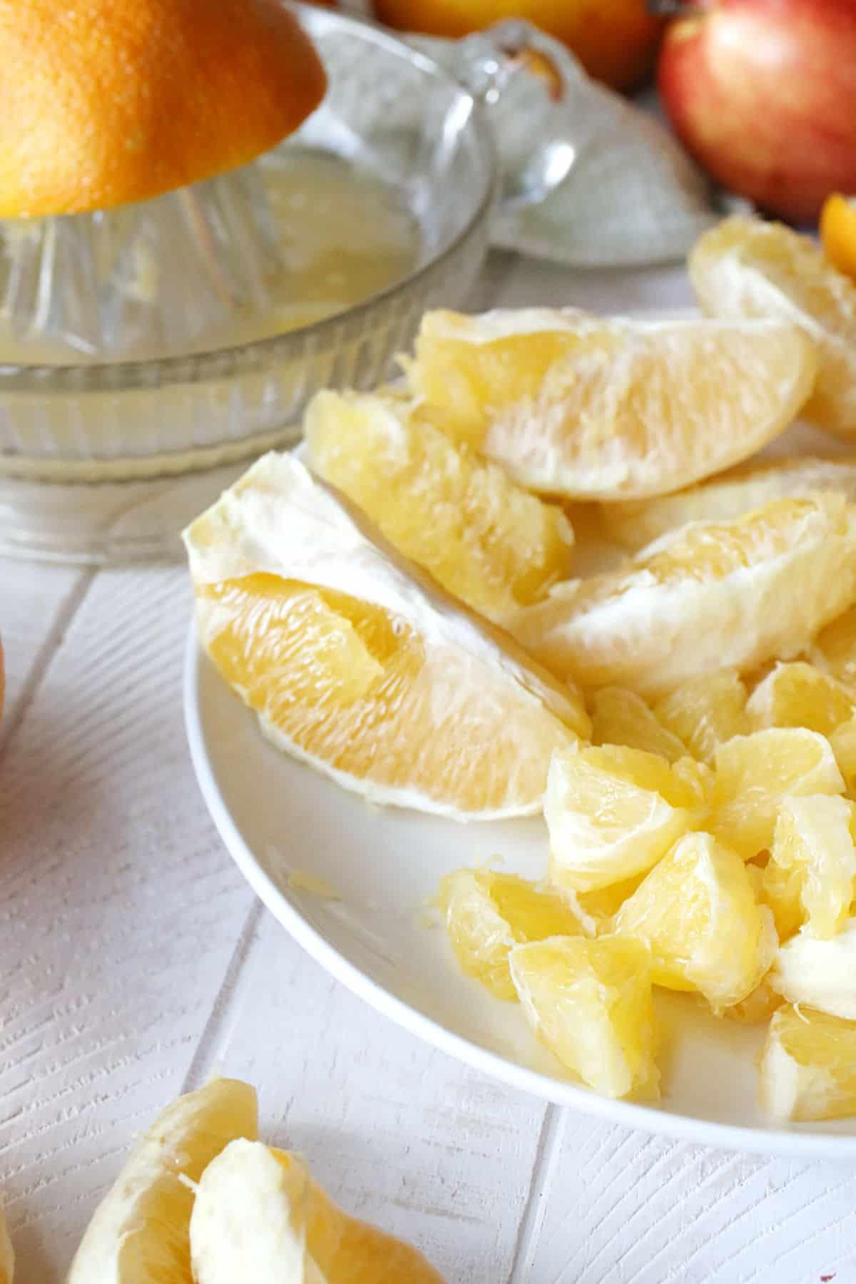 diced oranges