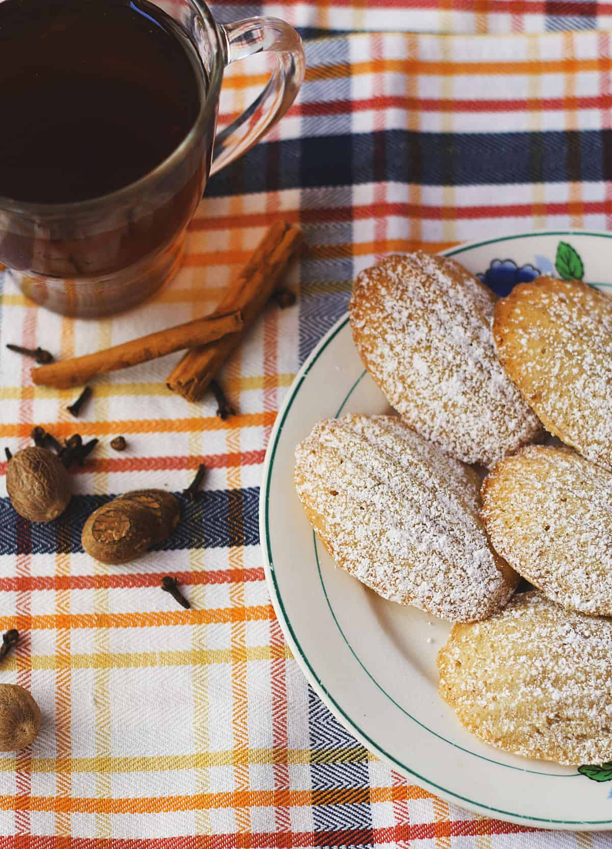 Chai Spiced Madeleines and a cup of tea
