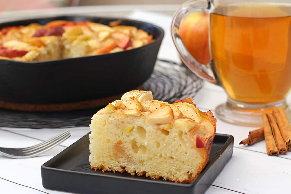 maple apple skillet cake with tea