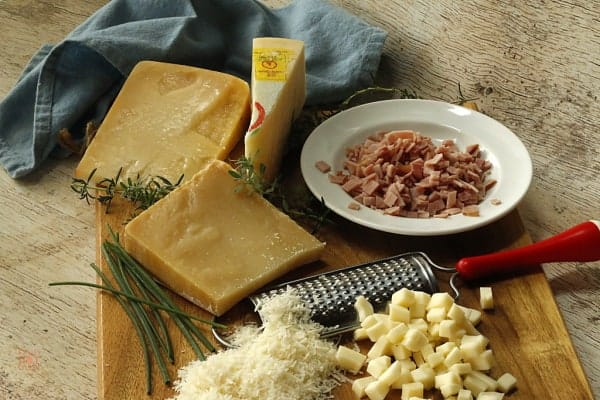 Ingredients for ham and cheese scones