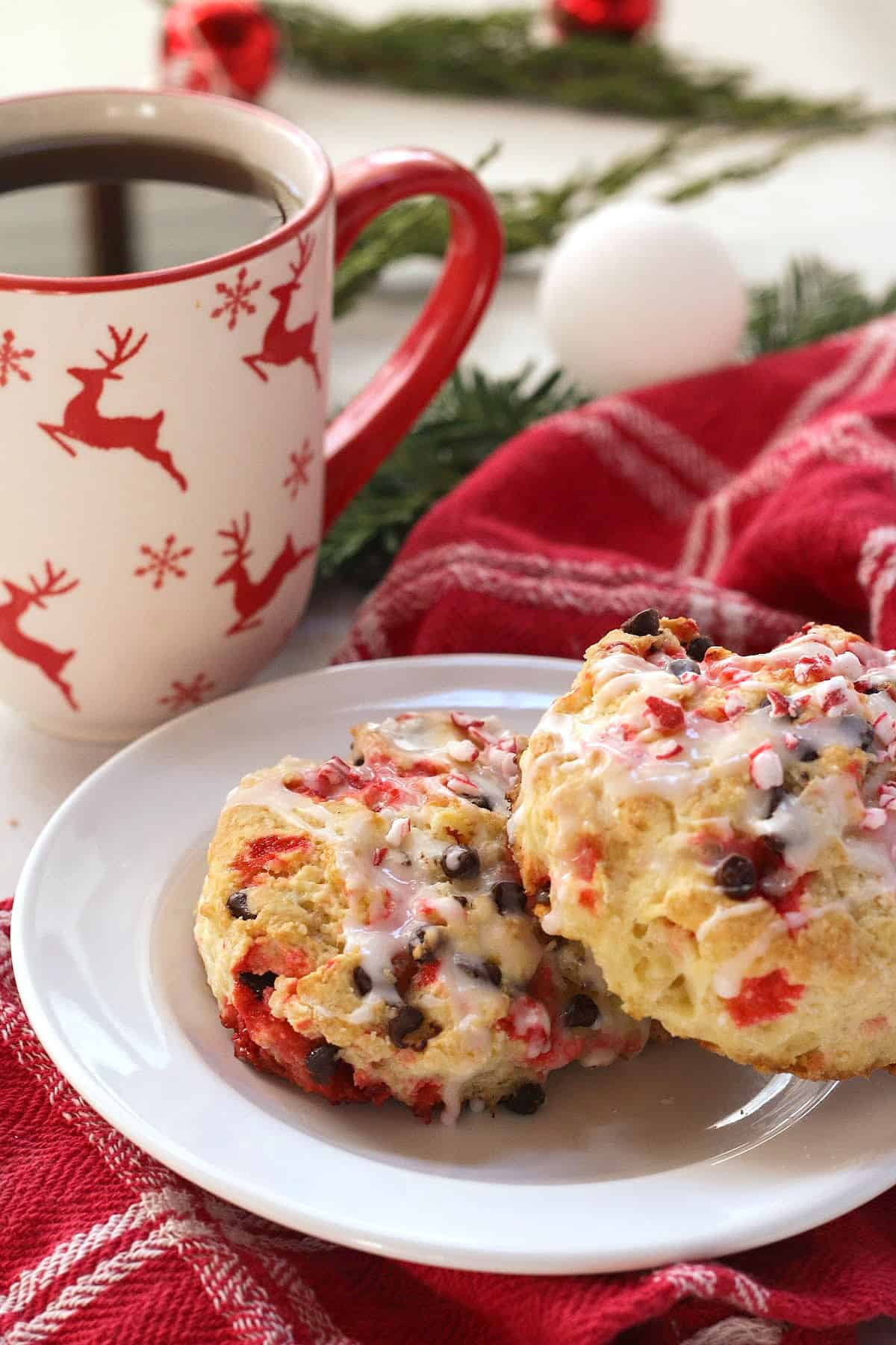 chocolate chip peppermint scones & tea