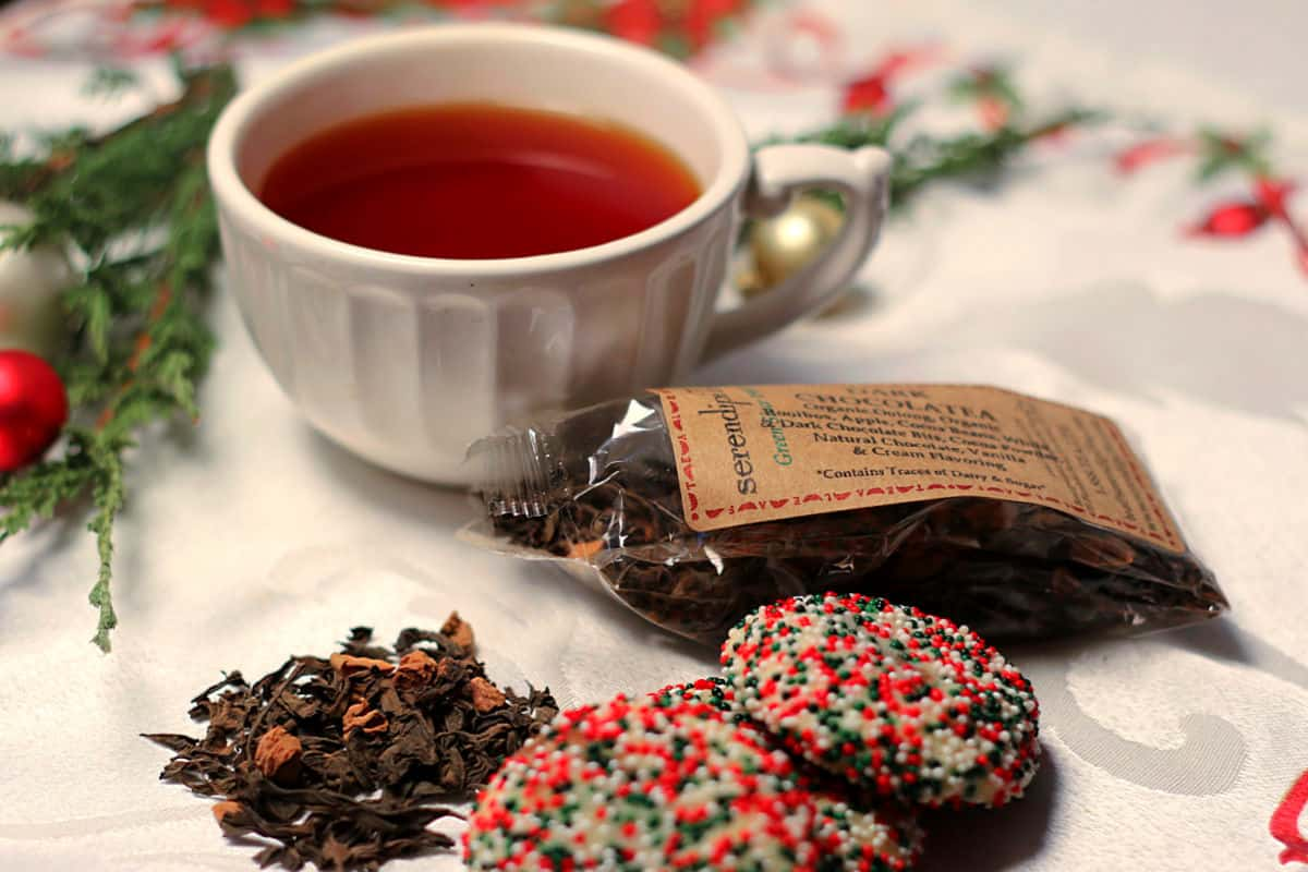 Christmas Sprinkle Cookies with a cup of SerendipiTea