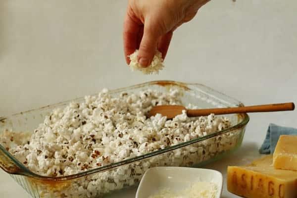 sprinkling Asiago Cheese