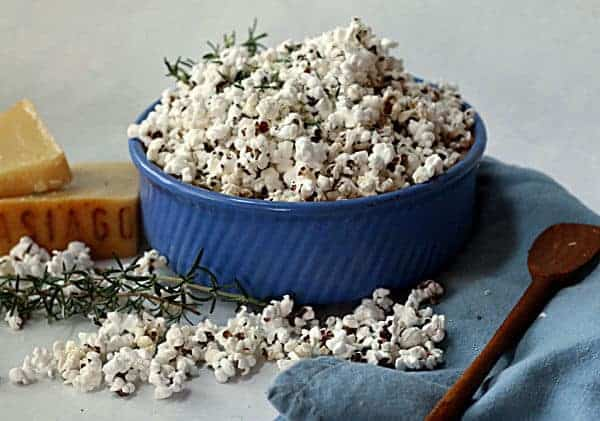 Asiago Cheese Popcorn with rosemary
