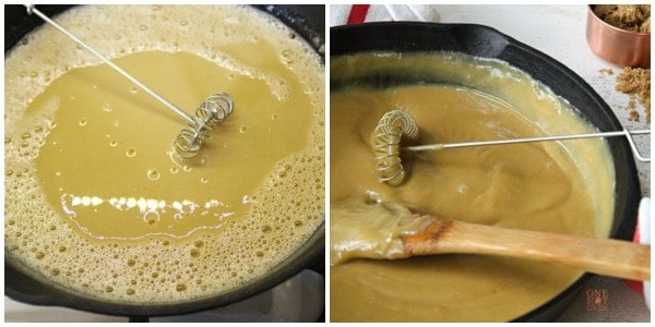 Showing how to make a butterscotch pie filling