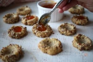 Pecan Jam Thumbprint Cookies