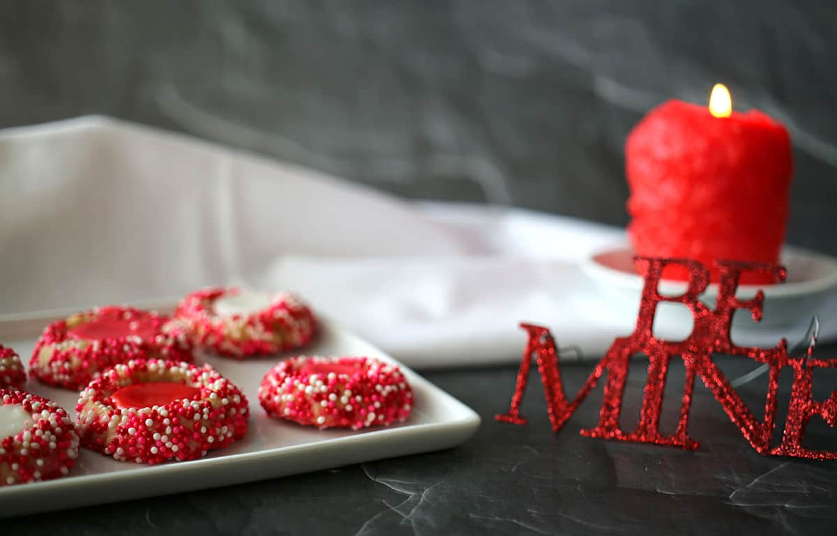 Cookies on a white tray and a sign the says Be Mine.