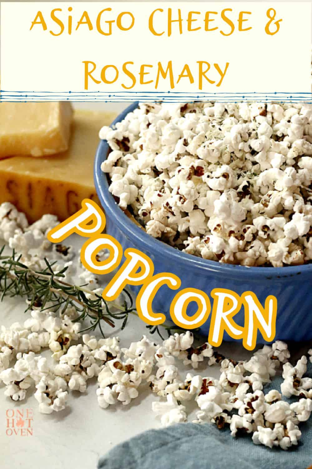 A pin image of popcorn in a blue bowl.