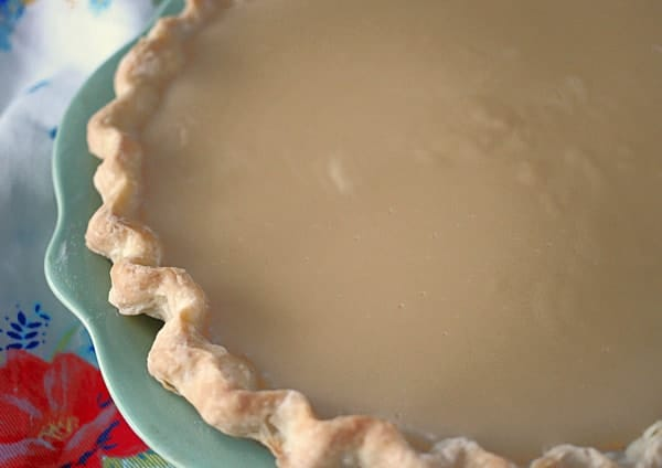 butterscotch custard in a pie shell
