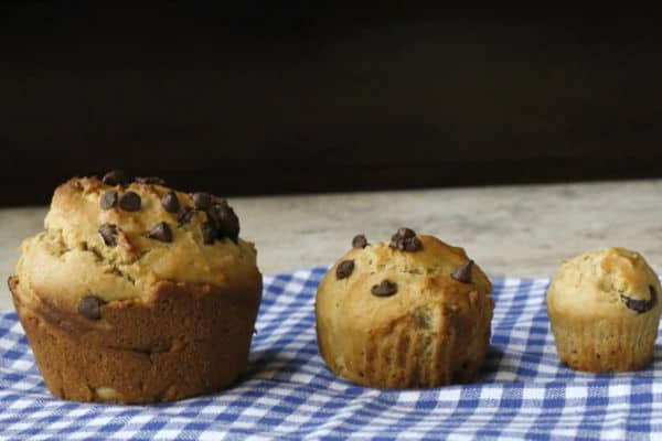 three sizes of muffins