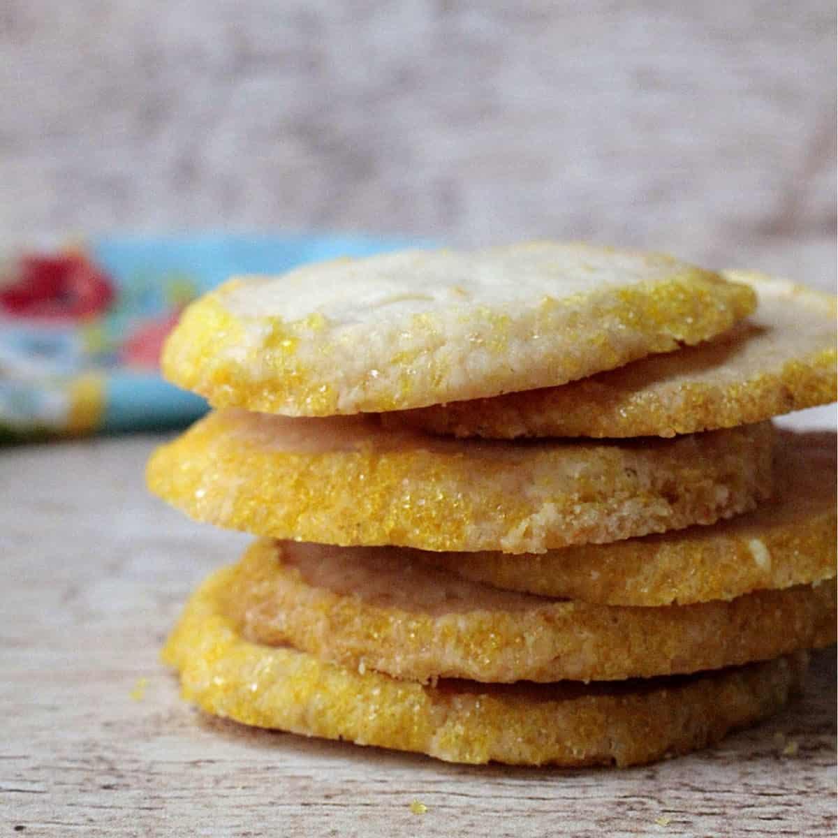 a stack of lemon cookies