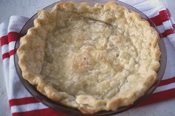 an unchilled blind baked pie crust