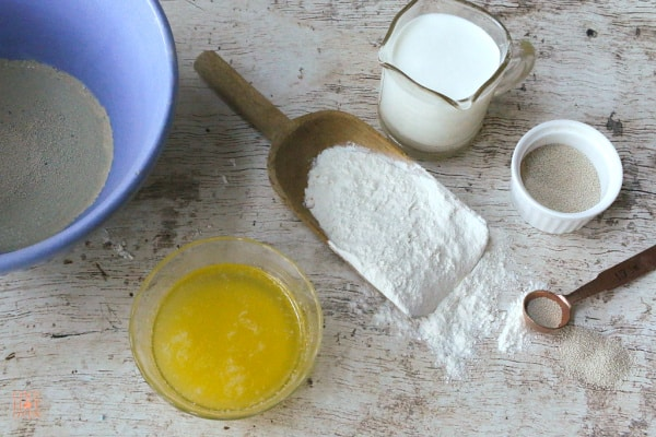 butter, flour, milk and yeast