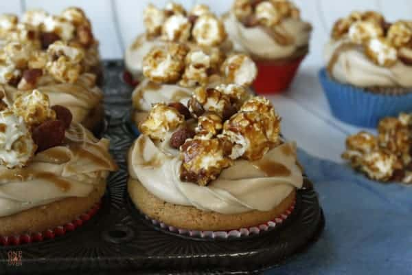 Peanut butter cupcakes with cracker jack