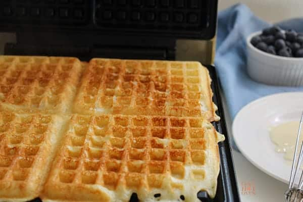 waffles on the griddle