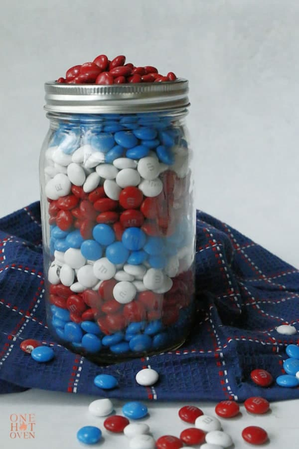 M&M's in a Mason jar